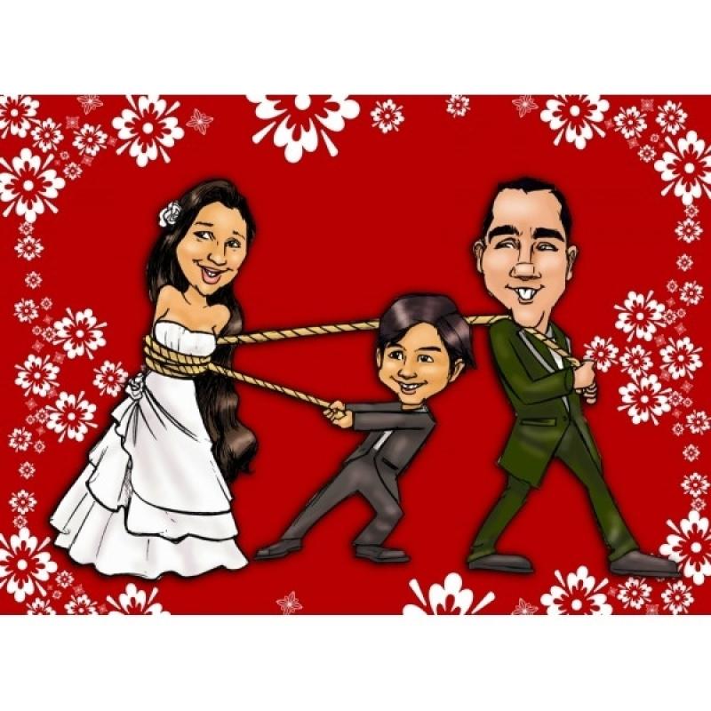 Caricatura em Caneca de Porcelana para Casamento em Sp Sé - Caricatura Impressa para Casamento