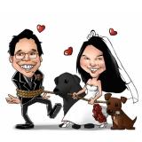 caricatura em camiseta para casamento em sp Jaguara