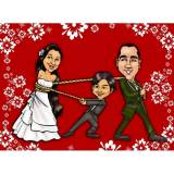 caricatura em caneca de porcelana para casamento em sp Interlagos