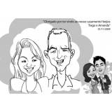 caricatura em caneca de porcelana para casamento Casa Verde