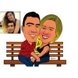 caricatura em caneca para casamento Campo Belo