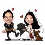 caricatura em casamento Santa Cecília