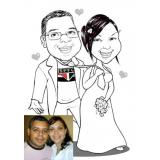 caricaturas em camisetas para casamentos Moema